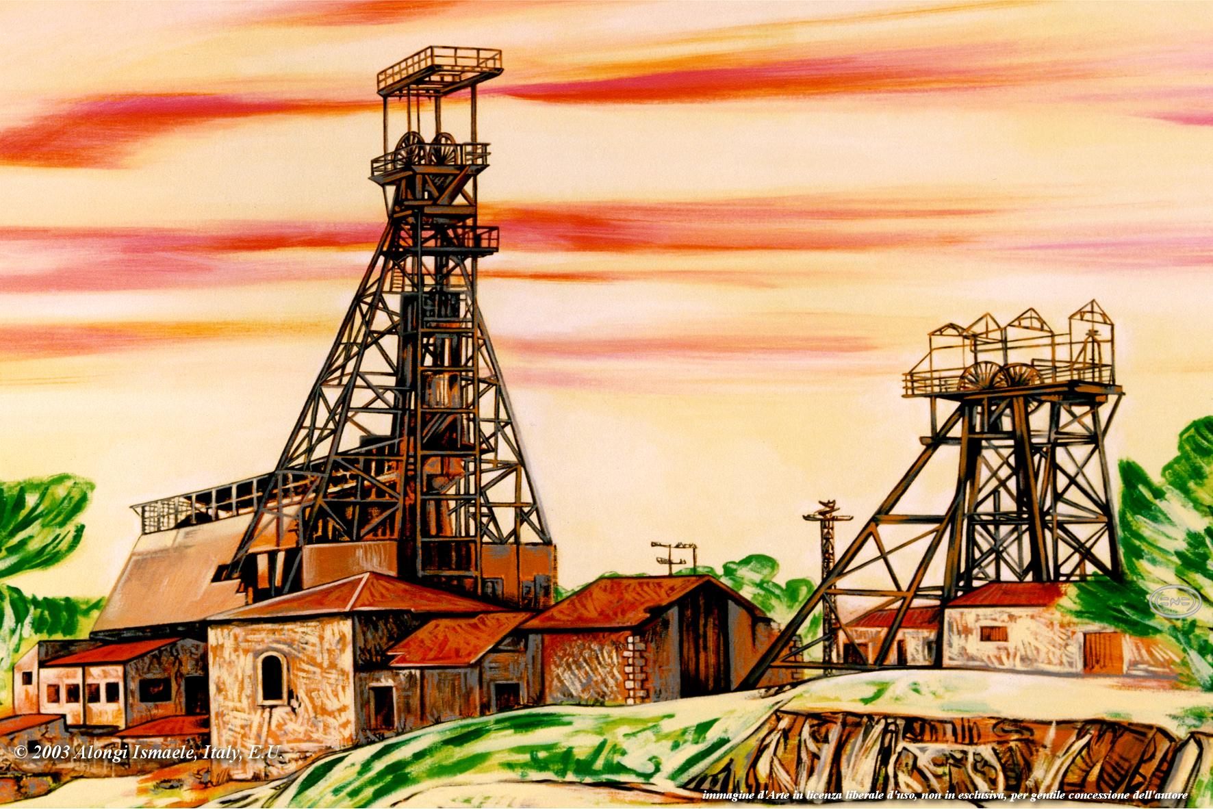 Miniera Trabia Tallarita di Sommatino e Riesi, 2003, Ismaele Alongi, cm 70 x 100, acrilico su tela